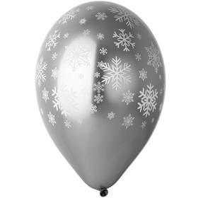 "Шар латексный 14"" «Снежинки», хром серебро, набор 25 шт."