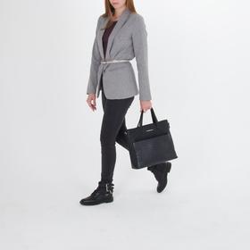 Сумка женская, отдел на молнии, наружный карман, длинный ремень, цвет чёрный - фото 53621