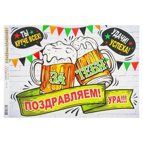 """Гирлянда с плакатом """"С Днём рождения!"""" пиво, 180 см А3"""
