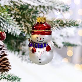 """Ёлочная игрушка """"Снеговик с тростью"""", 8 см, стекло"""