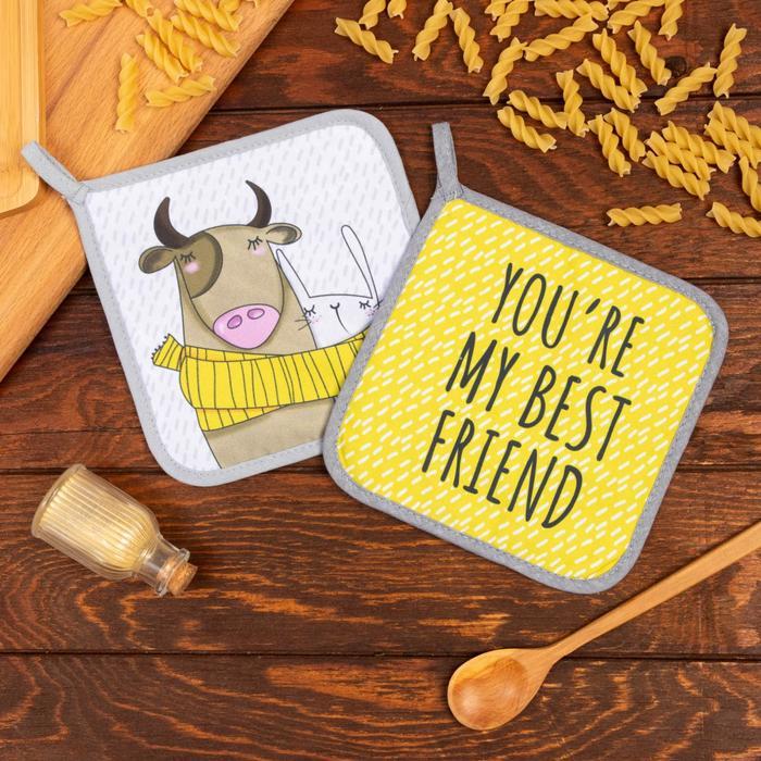 "Set of cooks. ""My best friend"" potholders 17x17-2 PCs. 35% HL, 65% p/e"