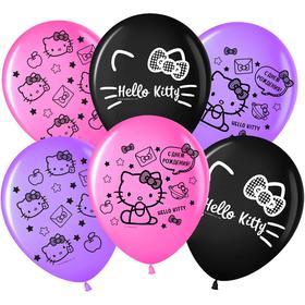 """Шар латексный 12"""" «С днём рождения!», Hello Kitty, пастель, 2-сторонний, набор 25 шт., МИКС"""