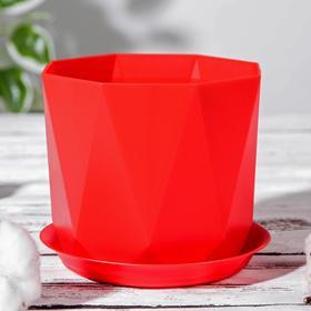 Горшок с поддоном «Призма», 1 л, цвет красный