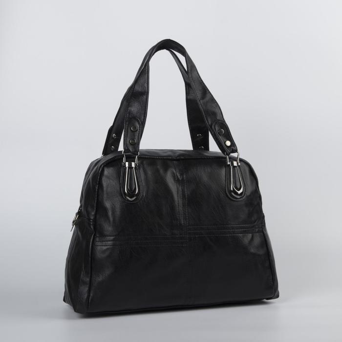 Сумка женская, отдел на молнии, наружный карман, цвет чёрный - фото 51291