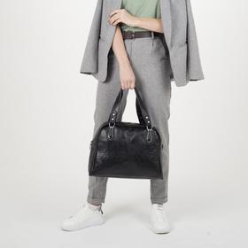 Сумка женская, отдел на молнии, наружный карман, цвет чёрный - фото 51294