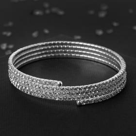 "Bracelet spring ""Disco"" rows, d=5.5, color white in silver,"