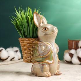 """Кашпо керамическое """"Заяц с корзиной на спине"""""""
