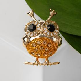 """Brooch """" Owl """" round, yellow in gold"""