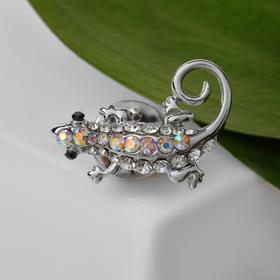 Lizard icon, rainbow color in silver