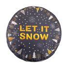"""Cover for Ethel's Ottoman """"Let it snow"""", d=60 cm, matting, 100% p/e"""
