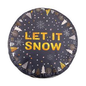 """Чехол для пуфика Этель """"Let it snow"""", d=60 см, рогожка, 100% п/э"""