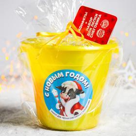 Сладкий детский подарок «С Новым годом»: конфеты 500 г, набор для лепки снеговика (пуговицы 5 шт., морковь-мялка), леденцы 70 г