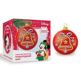 """Шар для декорирования стразами """"С Новым годом"""" Микки Маус, цвет красный"""