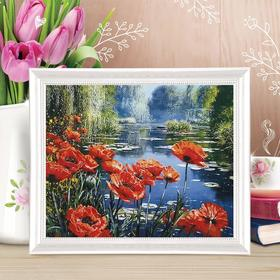 """Painting on canvas """"Poppies bloom"""" by numbers with paints of 3 ml+ brushes+fasteners 30*40"""