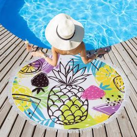 Полотенце пляжное Этель «Фруктовое настроение», d 150см