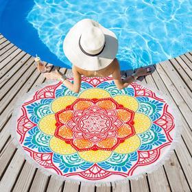 Полотенце пляжное Этель ««Мандалы», разноцветные», d 150см