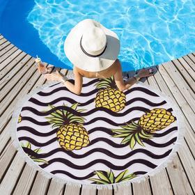 Полотенце пляжное Этель «Ананасы», d 150см