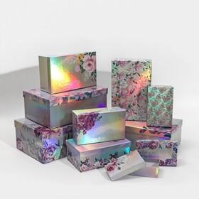 Набор иридисцентных коробок 10 в 1 «Цветы», 12 × 7 × 4 - 32.5 × 20 × 12.5 см