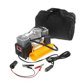 Компрессор автомобильный двухпоршневой 12В с LED подсветкой, 85 л/мин, провод 2.5 м