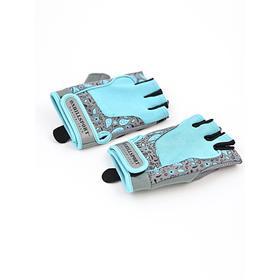 Перчатки для фитнеса женские замшевые X10, цвет серый/голубой, размер S