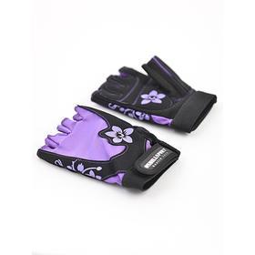 Перчатки для фитнеса женские замшевые X11, цвет чёрный/фиолетовый, размер M