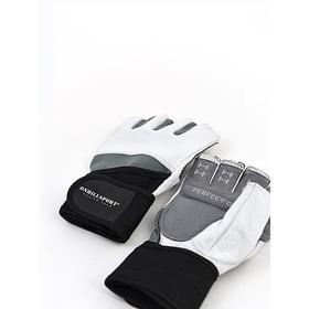 Перчатки для фитнеса мужские кожаные Q10, цвет чёрный/белый, размер S