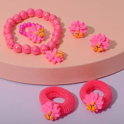 """Набор детский """"Выбражулька"""" 5 предметов: 2 резинки, клипсы, браслет, кольцо, астра, цвет МИКС"""