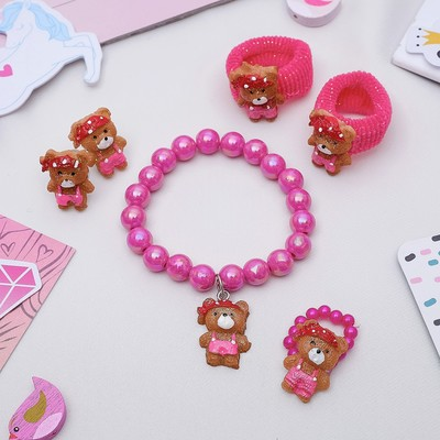 """Набор детский """"Выбражулька"""" 5 предметов: 2 резиночки, клипсы, браслет, кольцо, мишки, цвет МИК"""