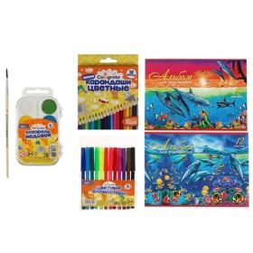Набор для детского творчества №9 Calligrata (пальчиковые краски 12 цветов, восковой пластилин 12 цветов, мел 5 цветов)