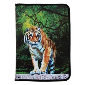 Папка для тетрадей А4, молния вокруг, пластиковая, Wild Tiger