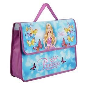 """Папка-портфель А4, 330 х 240 х 90 мм, на липучке, пластиковый """"Блестящая принцесса"""""""