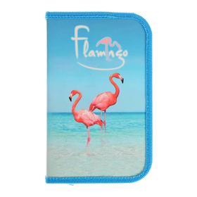 """Пенал 1 секция 115 х 190 мм, ламинированный картон """"Океанский фламинго"""""""