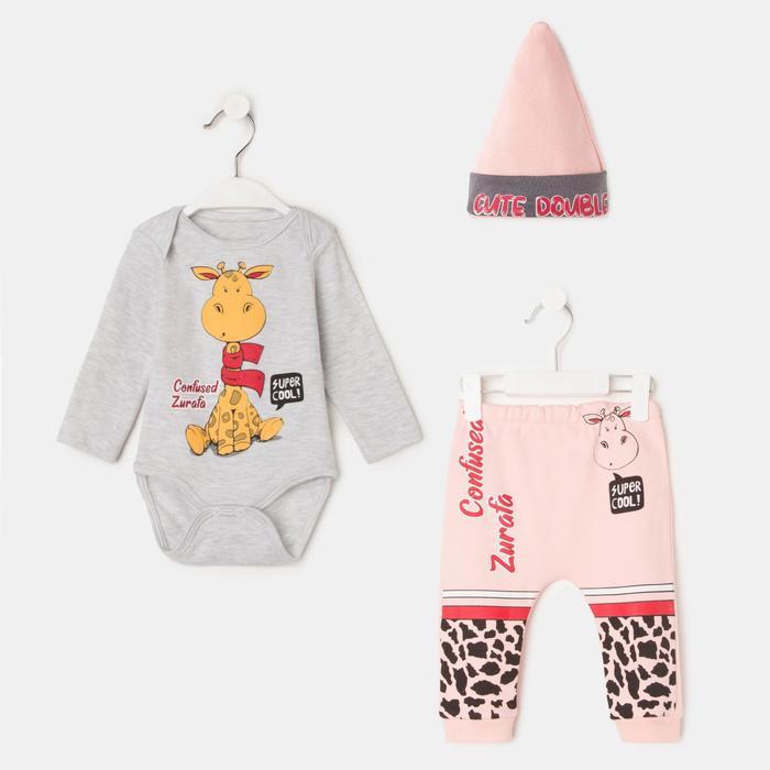 Комплект детский, цвет розовый/серый, рост 62-68 см - фото 1952711