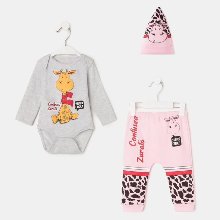 Комплект детский, цвет розовый, рост 62-68 см - фото 1952738