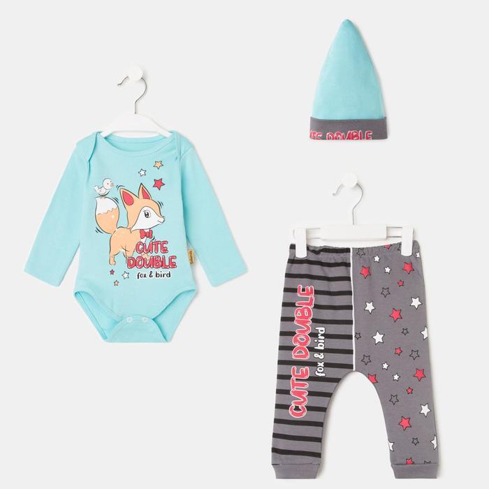 Комплект детский, цвет голубой, рост 56-62 см - фото 76689337