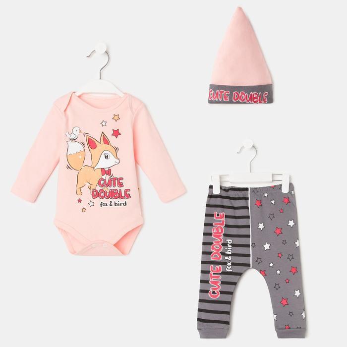 Комплект детский, цвет розовый, рост 68-74 см - фото 76689362