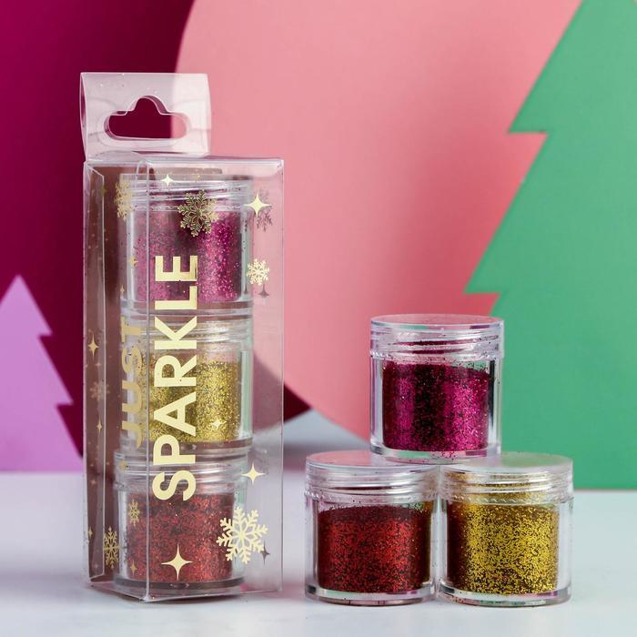 Набор мелких блёсток для декора ногтей Christmas mood, 3 цвета по 18,1 г - фото 2021601