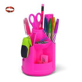 Набор настольный на вращающейся подставке 13 предметов ErichKrause Mini Desk, Neon Solid, розовый