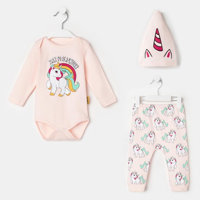 Комплект детский, цвет розовый, рост 56-62 см - фото 76691643
