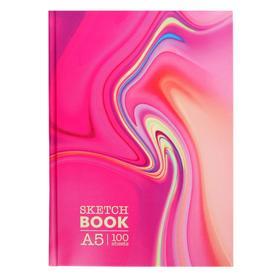 Скетчбук А5 100л Pink glass,тв обл,мат лам,бел бл 100г/м2 С5т100_лм 9055