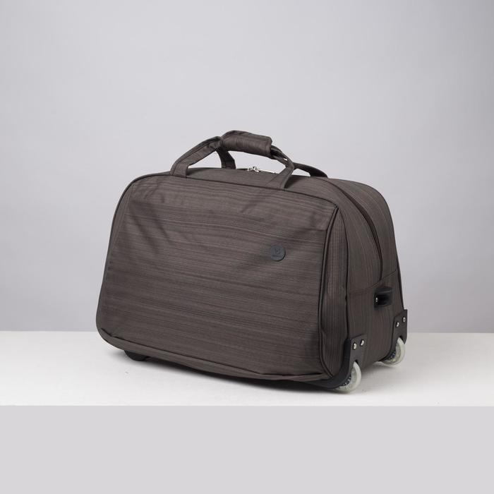 Сумка дорожная на колёсах, отдел на молнии, наружный карман, цвет коричневый - фото 762086