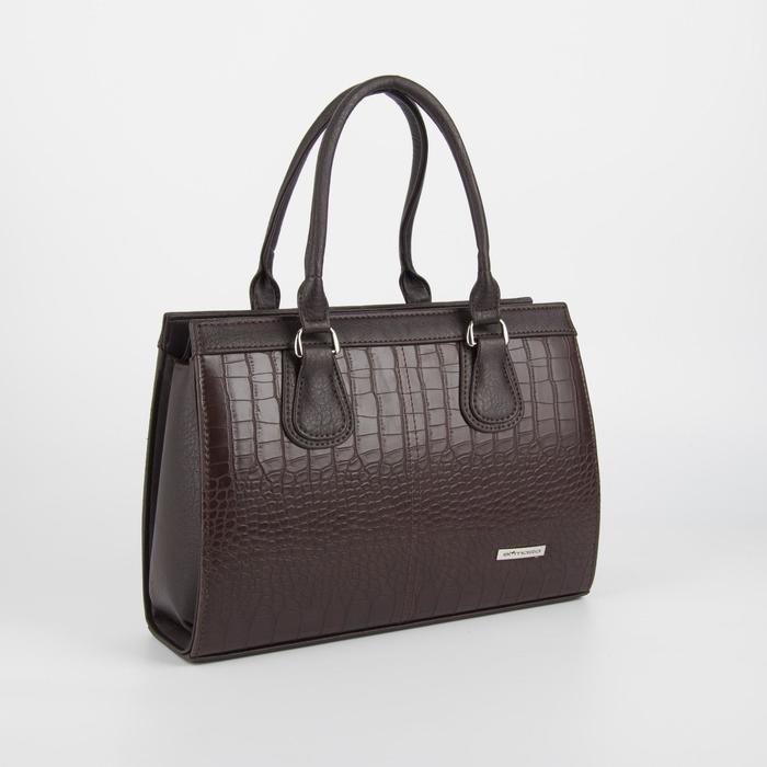 Сумка женская, отдел на молнии, наружный карман, длинный ремень, цвет тёмно-коричневый - фото 762218