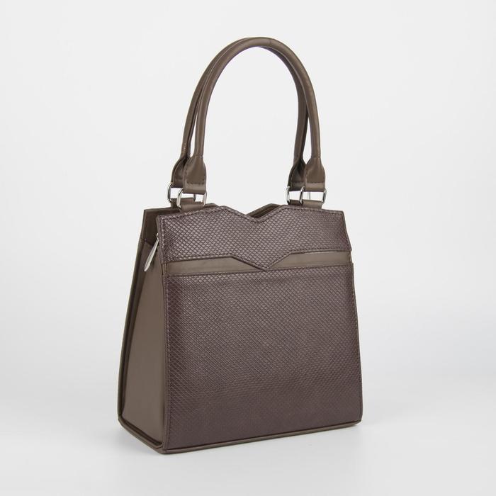 Сумка женская, отдел на молнии, наружный карман, длинный ремень, цвет коричневый - фото 52828