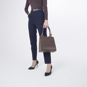 Сумка женская, отдел на молнии, наружный карман, длинный ремень, цвет коричневый - фото 52831