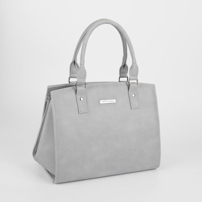 Сумка женская, отдел на молнии, наружный карман, длинный ремень, цвет серый - фото 762318