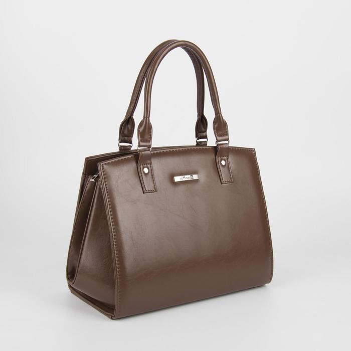 Сумка женская, отдел на молнии, наружный карман, длинный ремень, цвет коричневый - фото 762322