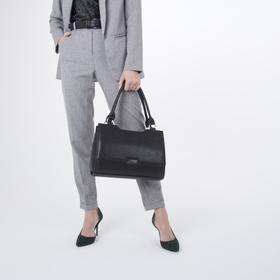 Сумка женская, отдел на молнии, наружный карман, длинный ремень, цвет чёрный - фото 52915