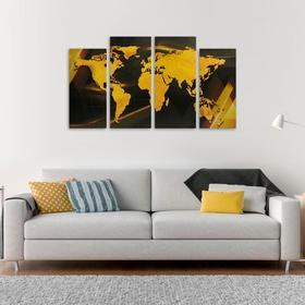 Модульная картина «Карта», золотая, 33 х 73 см