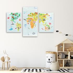 Модульная картина «Карта», детская, 30 х 60 см