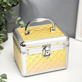 """Box metal frame chest """"Diamonds"""" yellow mother of pearl 13x16, 7x12, 8 cm"""